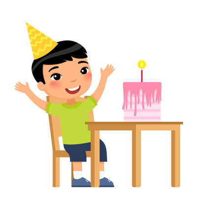 Little asian boy with birthday cake flat vector illustration. Child in party hat celebrating anniversary cartoon character. Anniversary celebration, festive pastry with candle on table isolated on white 일러스트