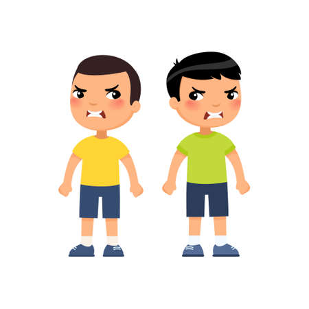 Angry little boys flat vector illustration. Furious asian children quarrel, aggressive kids arguing cartoon characters. Kids with mad face expression isolated on white background