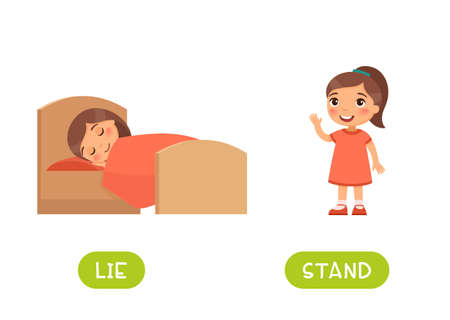 LIE and STAND antonyms word card vector template. Flashcard for english language learning. Opposites concept. Little girl sleeping in bed, child standing and waving