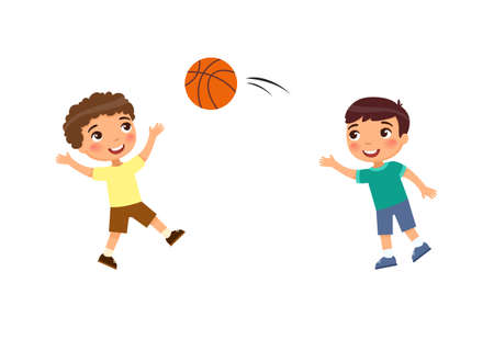 Two little boys play basketball flat vector illustration. Kids playing outdoors cartoon character. Children have fun. Summer recreation activity. Vetores