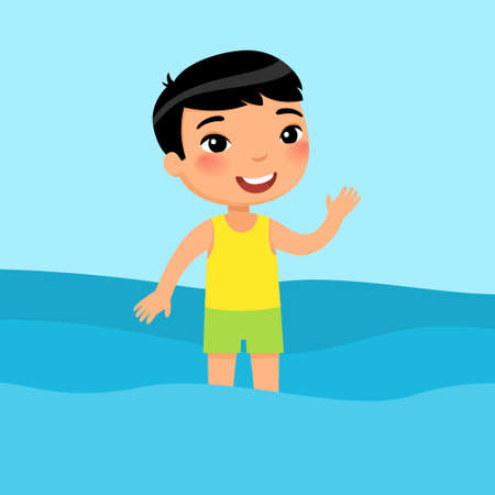 Little asian boy standing in a swimsuit flat vector illustration. Beautiful child having fun in water, waving hand. Cheerful kid in swimsuit enjoying summer activities color cartoon character