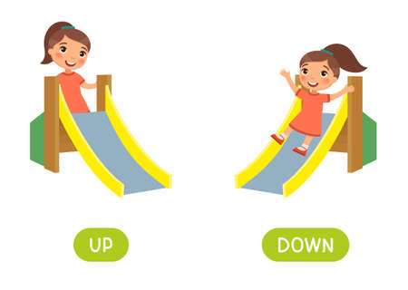 Opposites concept, UP and DOWN. Word card for language learning. Little girl climbs up a children's slide, rides down. Flashcard with antonyms for children vector template. Flat illustration with typography.