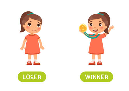 LOSER and WINNER antonyms word card vector template. Flashcard for english language learning. Opposites concept. Little girl lost and is sad, happy child with medal