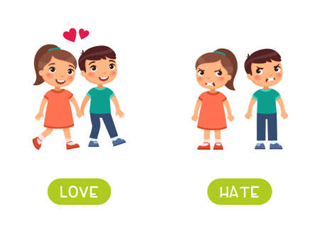 LOVE and HATE antonyms word card vector template. Flashcard for english language learning. Opposites concept. Children in love hold hands. The quarrel and the children are angry. Vector Illustration