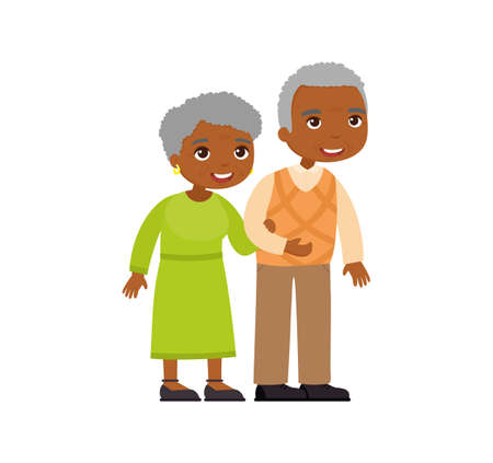 African old couple. Senior couple smiling and walking together. Elderly woman holds arm of elderly man. Happy married life concept. Vector illustration 向量圖像
