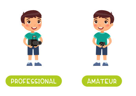 PROFESSIONAL and AMATEUR antonyms word card vector template. Flashcard for english language learning. Opposites concept. Boy with a professional camera and an amateur camera. 向量圖像