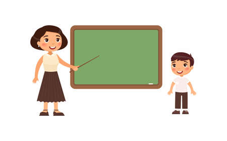 Teacher and schoolboy at classroom flat vector illustration. Female tutor and pupil standing near empty chalkboard cartoon characters. Boy at school class isolated on white background 向量圖像