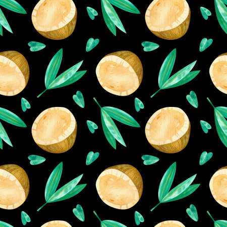 Coconuts and green leaves drawings seamless pattern. Summer tropical fruits and leaves hand drawn texture on dark background. Watercolor creative wallpaper, wrapping paper, textile design, scrapbooking, digital paper. 版權商用圖片