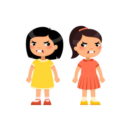 Angry little girls flat vector illustration. Furious asian children quarrel, aggressive kids arguing cartoon characters. Kids with mad face expression isolated on white background