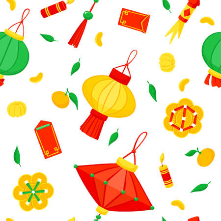 Chinese lanterns and fireworks flat vector festive seamless pattern. Asian annual festival celebration background. Traditional China holiday symbols texture. Oriental Lunar New Year wrapping paper