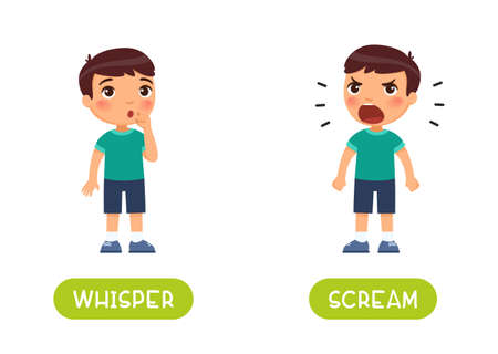 WHISPER and SCREAM antonyms word card vector template. Flashcard for english language learning. Opposites concept. Boy shows a gesture quietly, child shouts loudly.