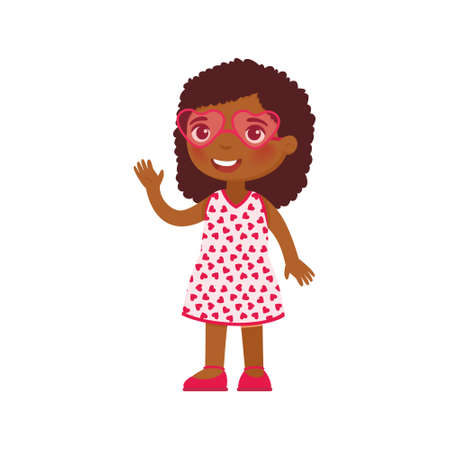 Little girl in heart shaped glasses flat vector illustration. Smiling child character waving hello. February 14 holiday isolated design element. Valentines Day. Dark skin kid in festive pink sunglasses