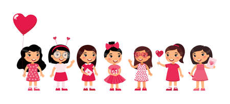 Little girls celebrating Valentines Day flat vector illustration. Kids wearing cute pink girlish accessories cartoon characters set. Children holding February 14 holiday presents isolated on white