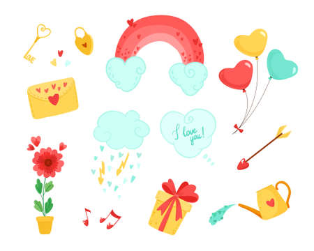 Valentine's day clipart. Set of items for valentine. Hearts shaped objects, vector printable illustration with cute elements