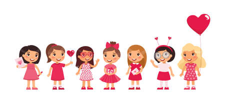 Little girls celebrating Valentine's Day flat vector illustration. Kids wearing cute pink girlish accessories cartoon characters set. Фото со стока - 161370491