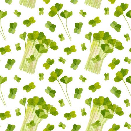 Spring garden leaves of radish seamless pattern. Cartoon greens  watercolor illustration. Reklamní fotografie