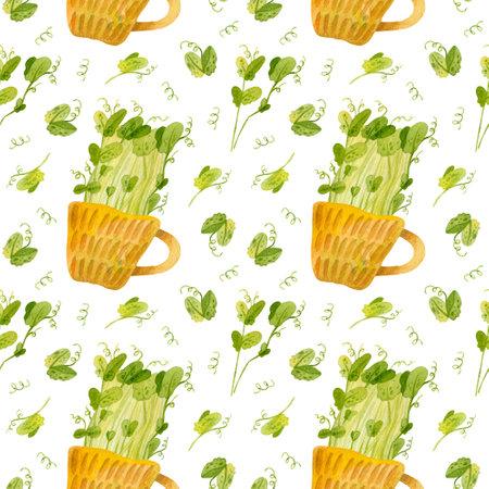 Cute ceramic cup with green pea seedlings. Bright spring crops. Fresh microgreens, cress salad. Garden season. Hand drawn watercolor seamless pattern.