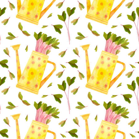 Yellow watering can with seedlings of beet . Multicolored spring crops. Fresh microgreens, cress salad. Garden season. Hand drawn watercolor seamless pattern.