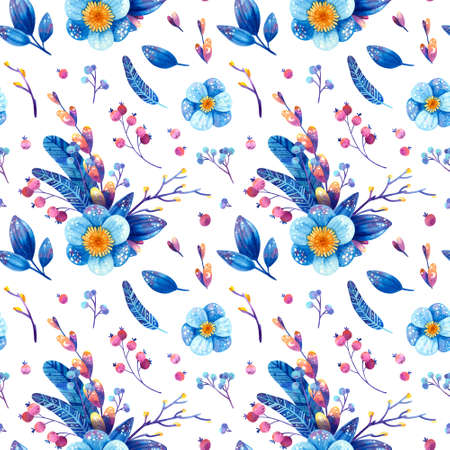Seamless pattern with blue and purple cosmic plants. Stylized feathers, flowers, leaves, berries with symbols of stars and the moon. Watercolor hand drawn illustrations on white background. Фото со стока