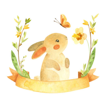 Cute Easter Bunny with ribbon, butterfly and flower wreath. Easter or children's themed birthday card template with a rabbit and spring flowers. Watercolor clipart for cards, posters, banners Фото со стока