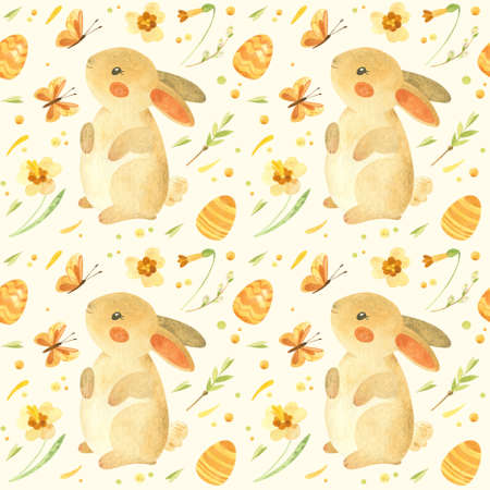 Seamless pattern with Easter bunny. Rustic template with cute rabbit, Easter eggs and spring flowers in beige-yellow palette. Watercolor clipart for eco farm products