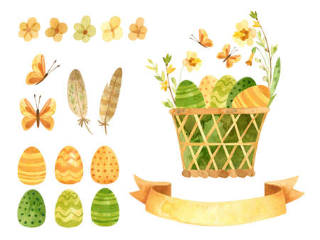 Easter clipart set - wicker basket with Easter eggs, ribbon for text and spring flowers. Illustrations in rustic style. Watercolor clipart for eco farm, village house.
