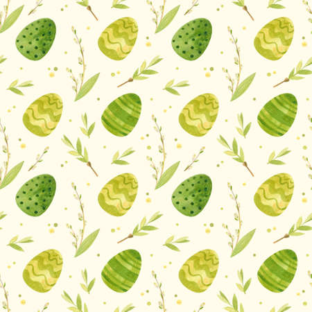 Seamless pattern with Easter eggs and spring flowers in a green palette. Watercolor clipart for eco farm products.