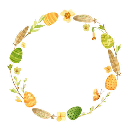 Spring wreath with Easter eggs, pussy willow, feathers and flowers, rustic style. Eco farming. Easter themed template for postcards, posters, banners. Watercolor clipart on white background