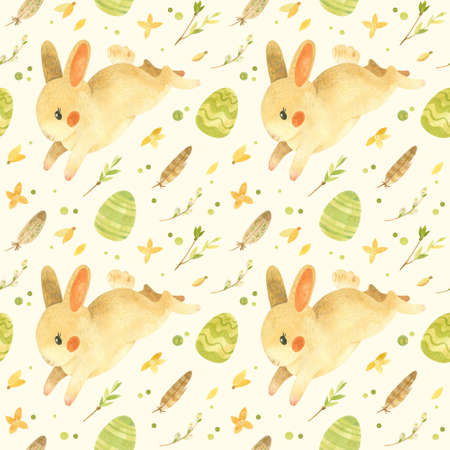 Seamless pattern with Easter bunny. Rustic template with cute rabbit, Easter eggs, feathers and spring flowers in beige-yellow palette. Watercolor clipart for eco farm products Фото со стока