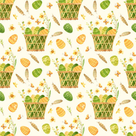 Easter seamless pattern. Template with Easter basket, eggs, quail feathers and spring flowers. Watercolor clipart for eco farm products. Фото со стока
