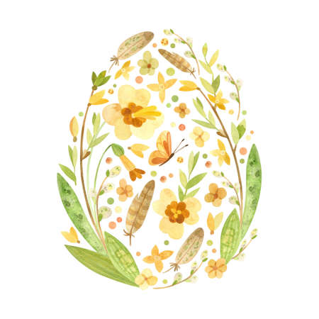 Easter card in the shape of an egg with Easter eggs, pussy willow, feathers and spring flowers. Thematic template country style for postcards, posters, banners. Watercolor clipart on white background Фото со стока