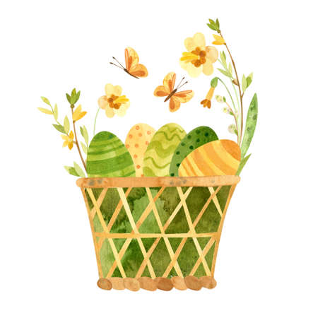 Easter eggs basket - rustic style. Themed spring template for eco farm products, cards, posters, banners.  Watercolor clipart with Easter eggs, flowers Фото со стока