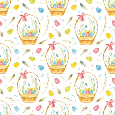 Easter seamless pattern. Template with osier basket, Easter eggs and spring flowers. Watercolor clipart on white background