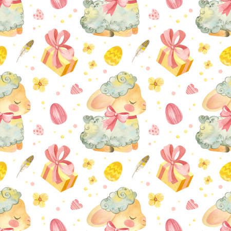 Seamless pattern with baby sheep. Easter template with cute lamb, Easter eggs and spring flowers in pink-yellow palette. Watercolor clipart on white background