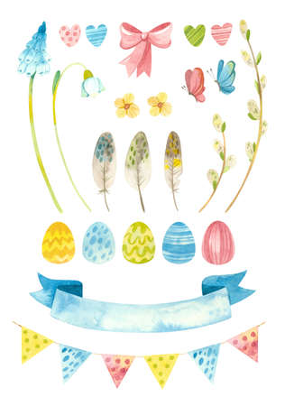 Easter clipart set. Baby spring party clipart with Easter eggs, pussy willow and flowers. Watercolor colorful clipart on white background Фото со стока - 163067704