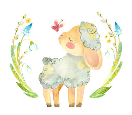 Cute lamb with pink butterfly and flower wreath. Easter or children's themed birthday card template with a sheep and spring flowers. Watercolor clipart for cards, posters, banners Фото со стока
