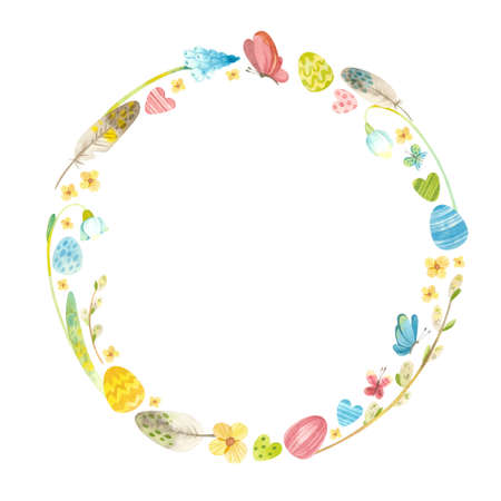 Spring wreath with Easter eggs, pussy willow, feathers and flowers. Easter themed template for postcards, posters, banners. Watercolor clipart on white background