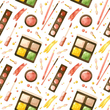 Seamless patterns with a cosmetic products. Makeup and self-care. Fashion watercolor illustration. Template for postcards, business cards, posters, banners.