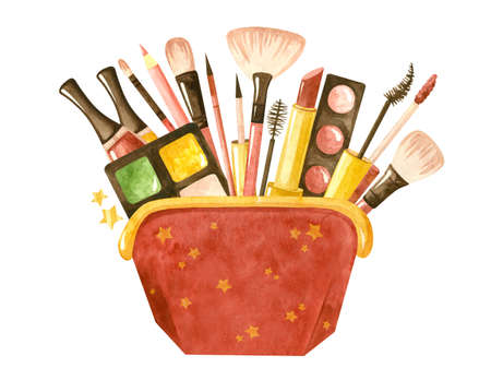 Beauty set with a cosmetic bag and cosmetic products. Makeup and self-care. Fashionable watercolor illustration. Template for postcards, business cards, posters, banners. Фото со стока