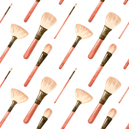 Seamless patterns with a cosmetic products - makeup brushes. Makeup and self-care. Fashion watercolor illustration. Template for postcards, business cards, posters, banners.