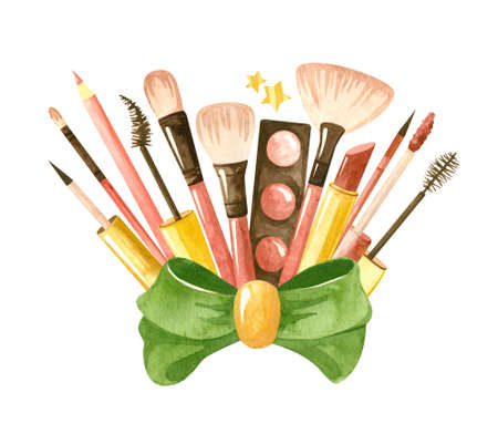 Beauty set with a green bow and cosmetic products. Makeup and self-care. Fashionable watercolor illustration. Template for postcards, business cards, posters, banners. Фото со стока
