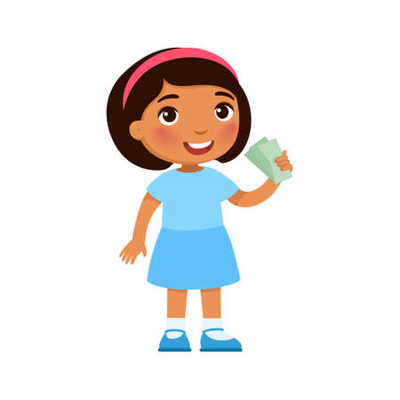 Little dark skin girl with money in hand. Rich happy child holding banknotes cartoon character. Earnings savings, profit, income. Wealthy kid with cash isolated on white Иллюстрация