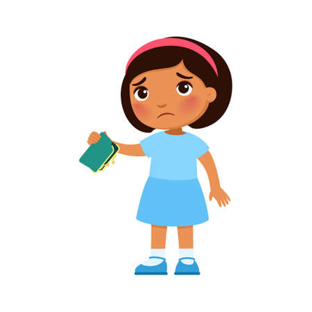 Little dark skin girl with empty wallet in hand. Upset poor child cartoon character. Poverty, unemployed person in need. Frustrated little  kid, isolated design element on white