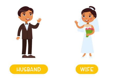 Husband and wife antonyms word card, Opposites concept. Dark skin couple. Flashcard for English language learning. Man in a suit of a groom and woman in a dress of a bride Иллюстрация