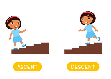 Opposites concept, Ascent and Descent. Word card for English language learning. Little dark skin girl goes up the stairs, goes down.  Flashcard with antonyms for children