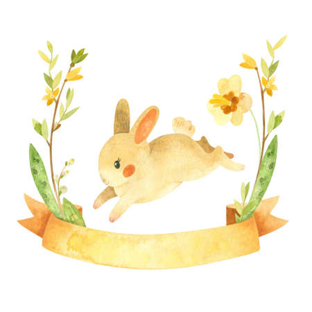 Cute Easter Bunny with ribbon and flower wreath. Easter or children's themed birthday card template with a rabbit and spring flowers. Watercolor clipart for cards, posters, banners Фото со стока