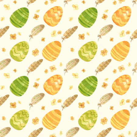Seamless pattern with Easter eggs, butterflies and spring flowers in a green-orange palette. Rustic style. Watercolor clipart for eco farm products.