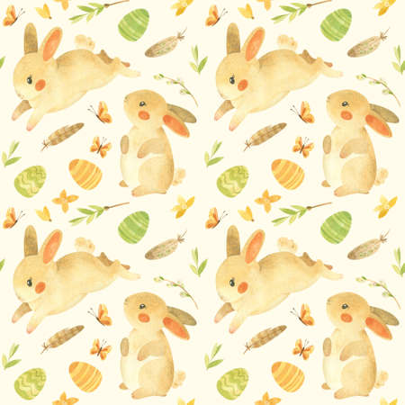 Seamless pattern with Easter bunnies. Rustic template with cute rabbits, Easter eggs, feathers and spring flowers in beige-yellow palette. Watercolor clipart for eco farm products