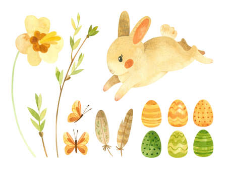 Easter clipart set with cute rabbit. Baby bunny, Easter eggs and feathers and spring flowers. Eco farm products. Spring watercolor clipart illustrations in rustic style. Фото со стока