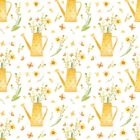 Spring seamless pattern. Yellow watering can with spring flowers, pussy willow and butterflies. Watercolor clipart  in rustic style.